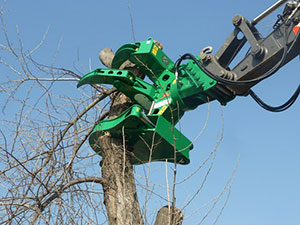 Rotary 360º shears for cutting logs and branches
